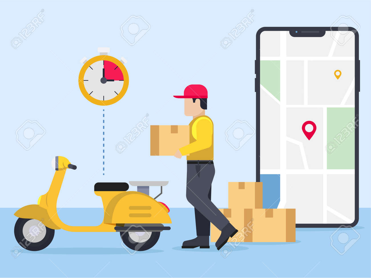 Delivery guy going to deliver parcel - 168226252