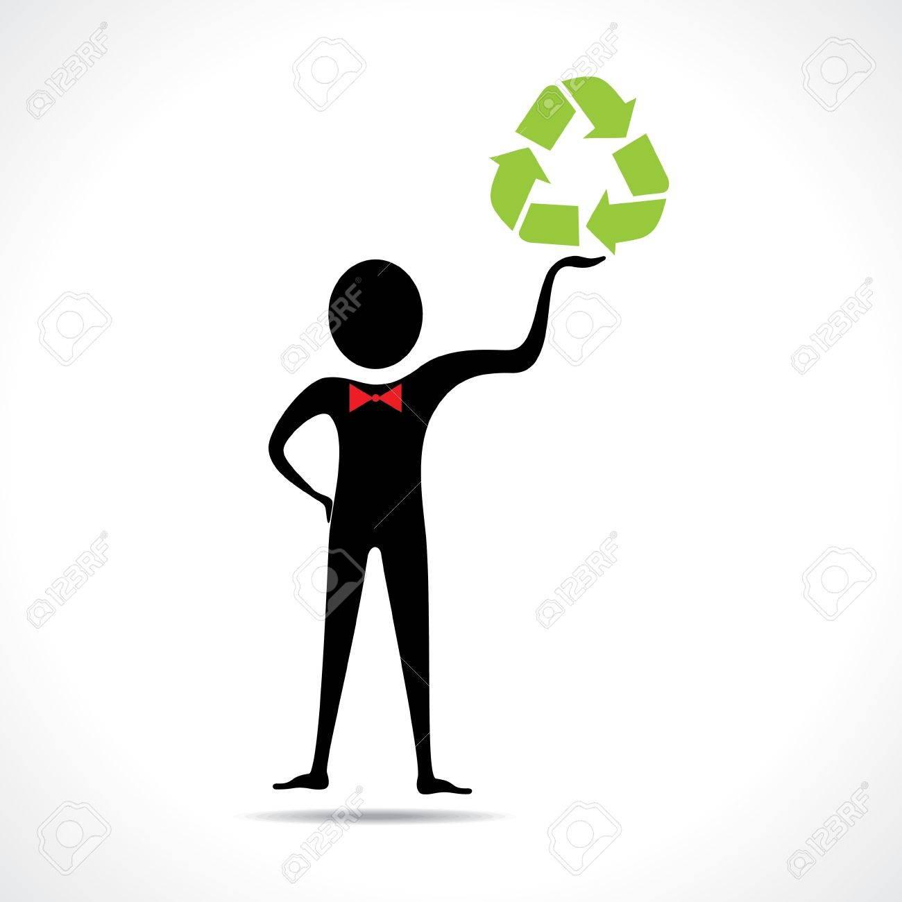 Man holding a recycle icon vector Stock Vector - 20645098