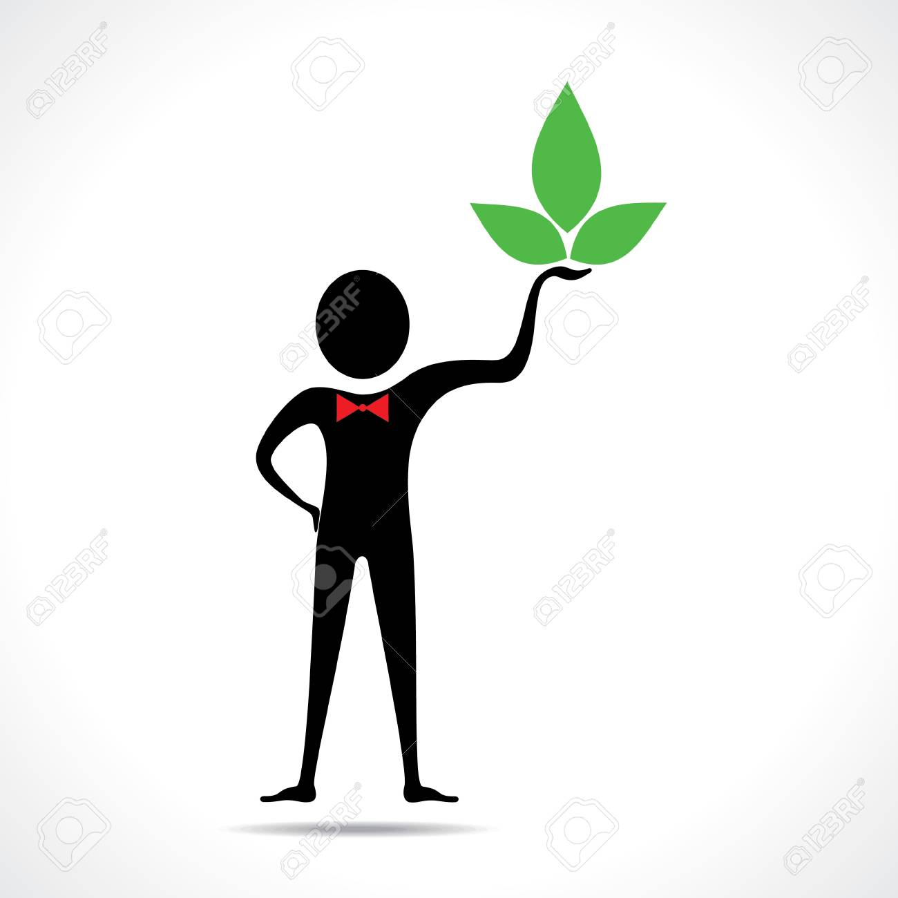 Man holding a leaf icon vector Stock Vector - 20645088