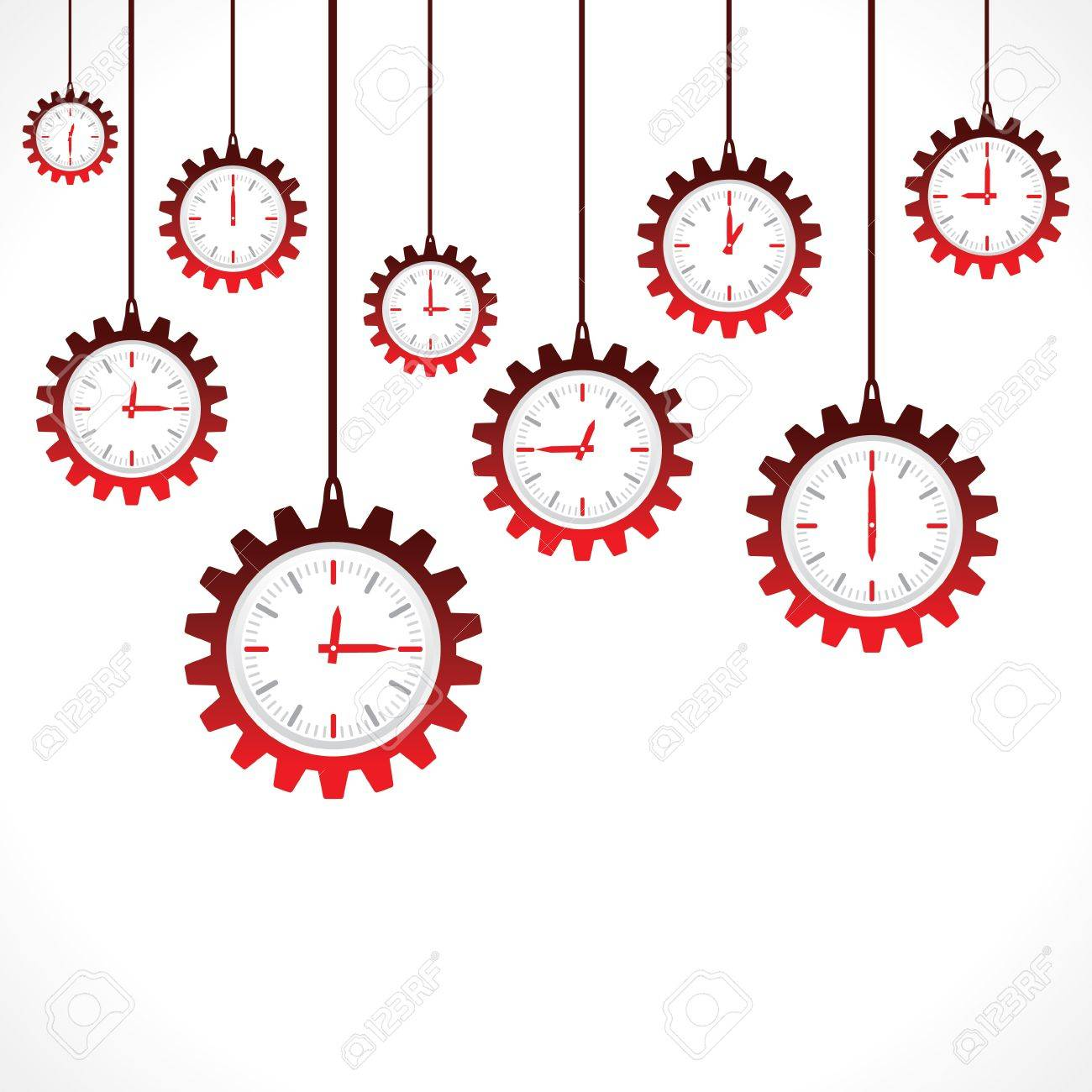 Hanging gear shape red clocks Stock Vector - 20645158