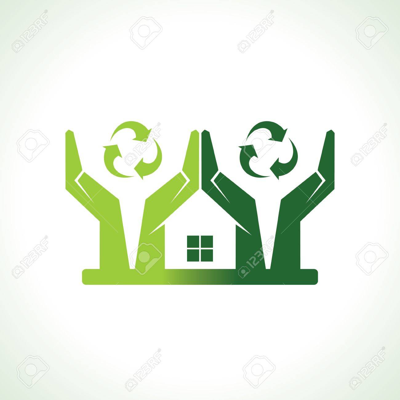 Eco friendly home forming by hand protecting nature vector Stock Vector - 20771201