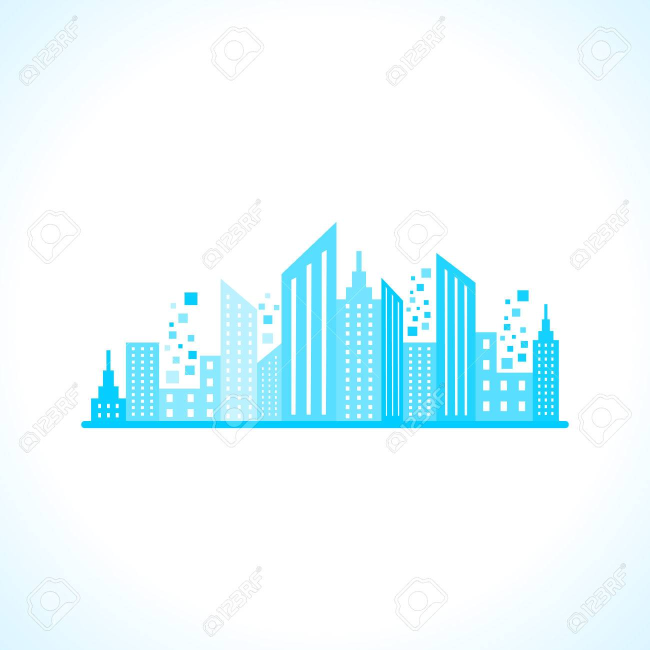 Illustration of abstract blue building design - 22551712