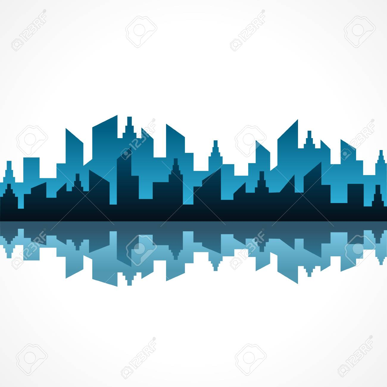 Illustration of abstract blue building design - 22551713