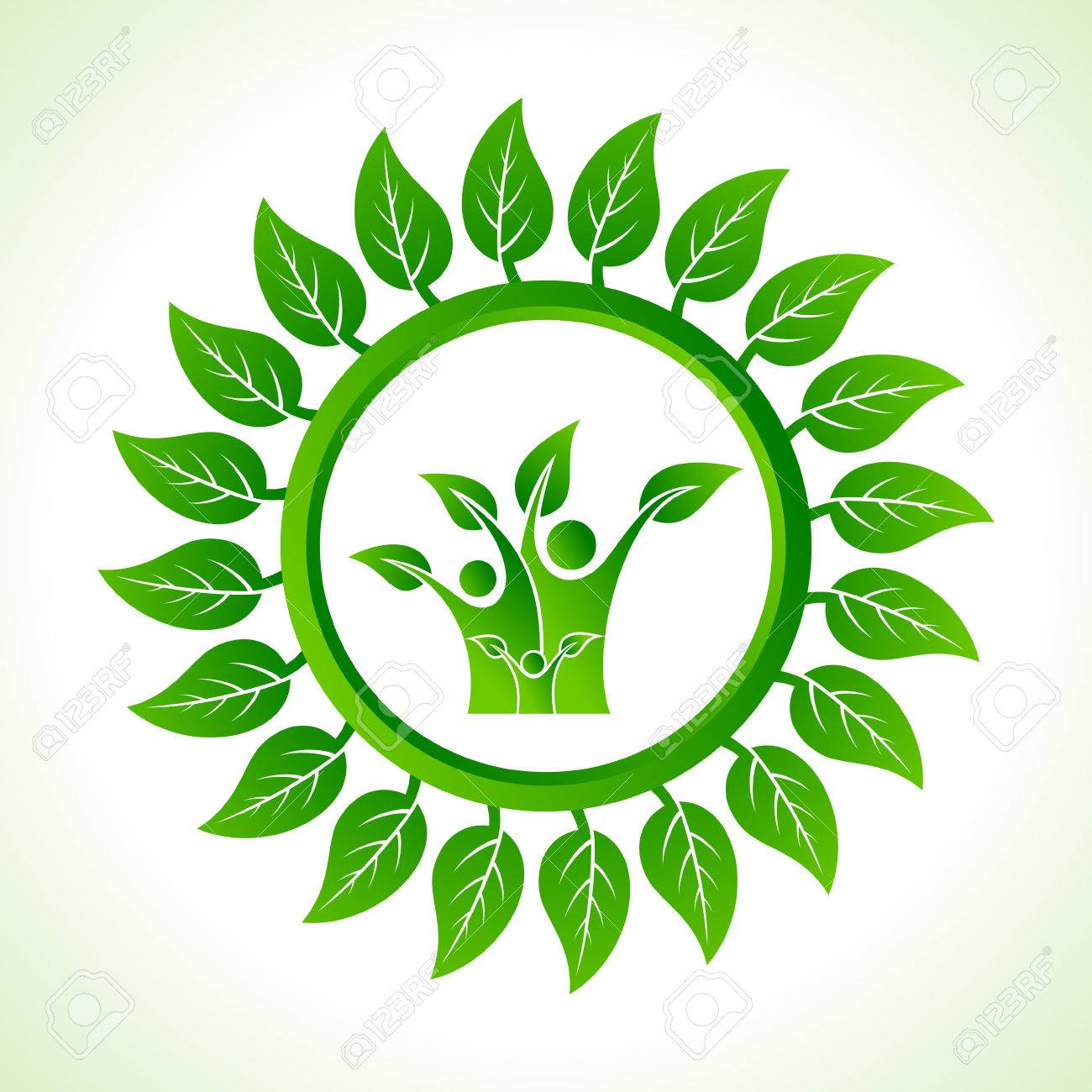 Eco family inside the leaf background stock vector Stock Vector - 22632233