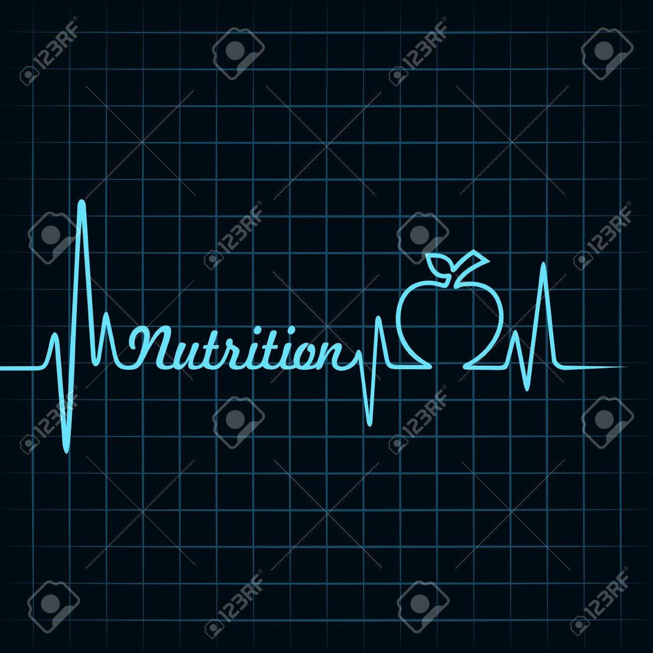 Heartbeat Hacen Palabra Nutrición Y Manzana Stock Vector ...