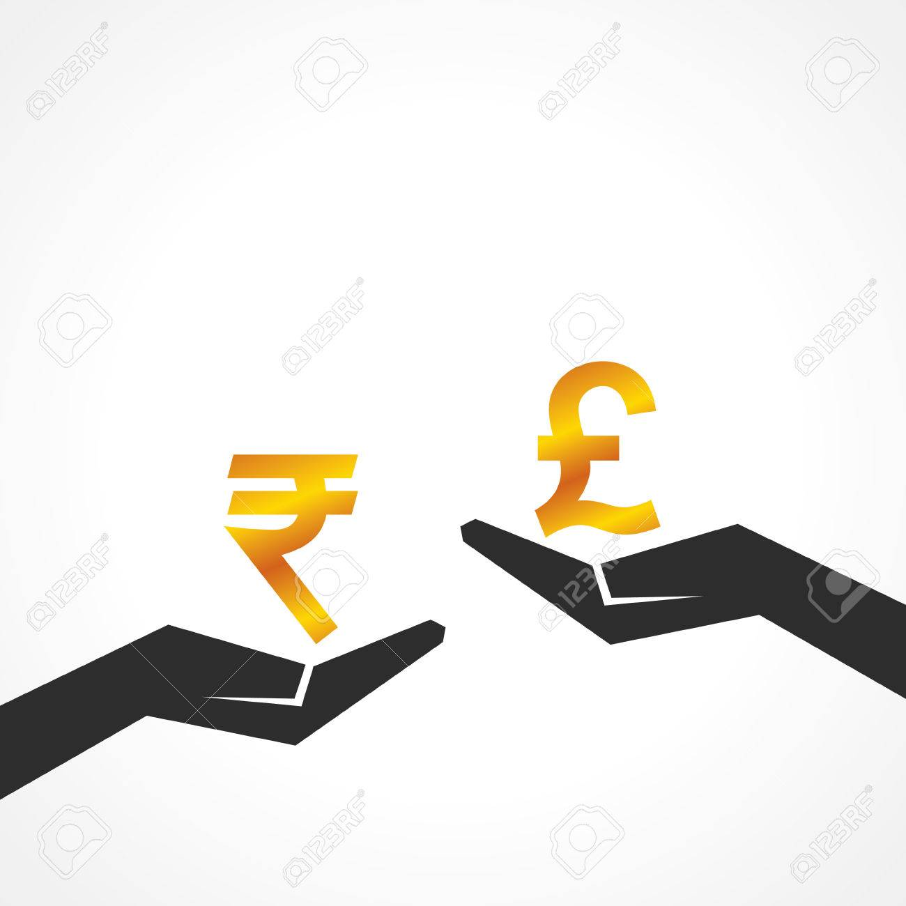 Hand Hold Rupee And Pound Symbol To Compare Their Value Stock