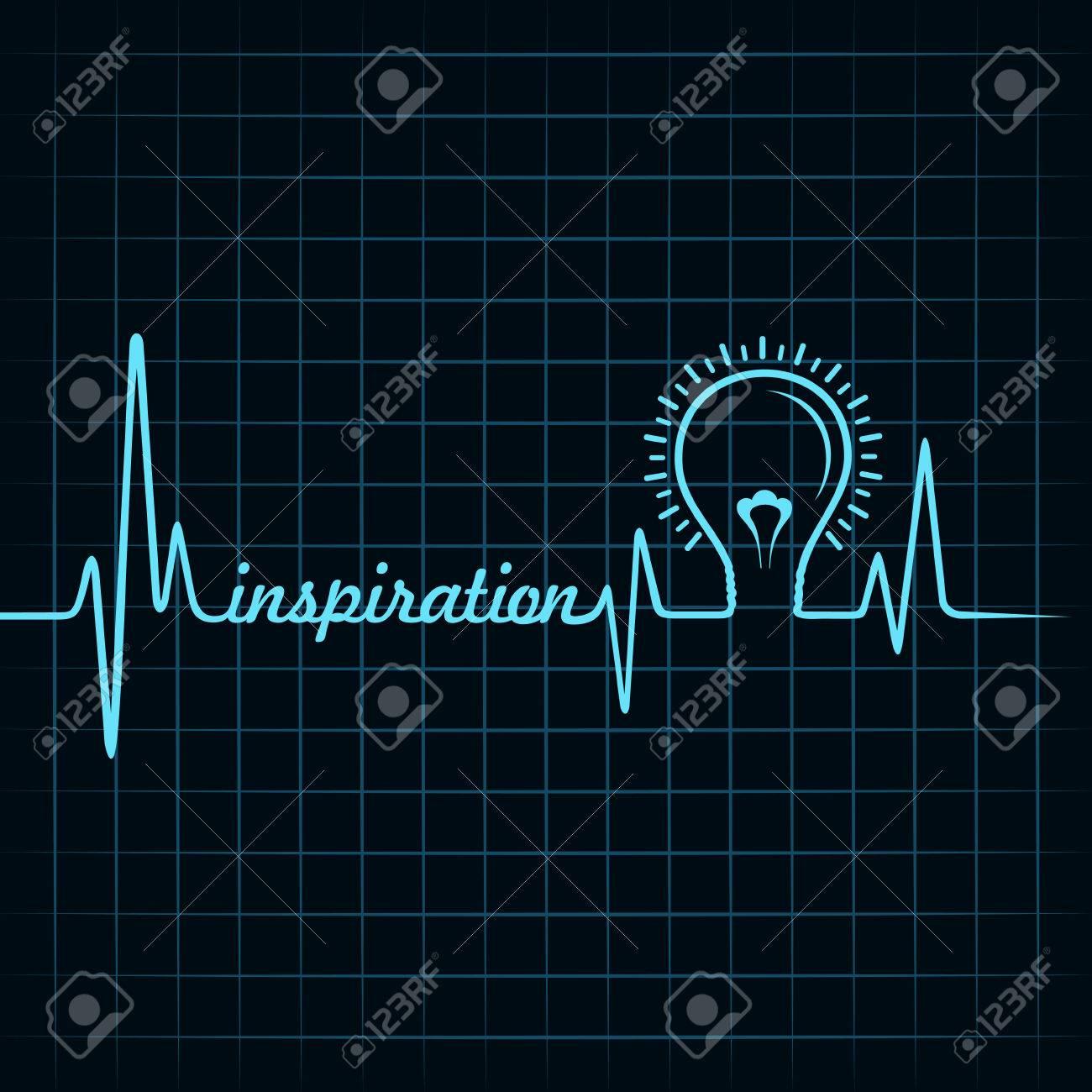 heartbeat make inspiration word and light-bulb stock vector Stock Vector - 26078605