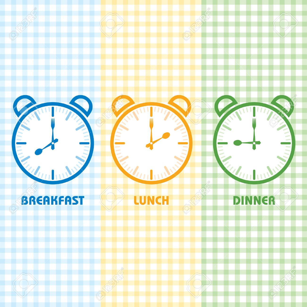 Breakfast Lunch and Dinner time stock vector - 36844107