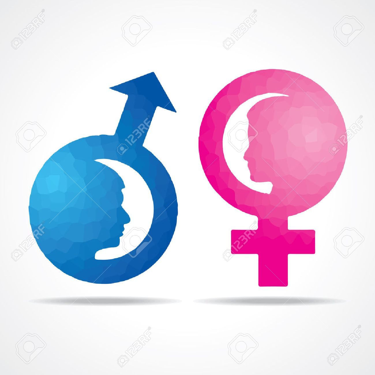 Illustration Of Male Female Symbol With Female Face Royalty Free