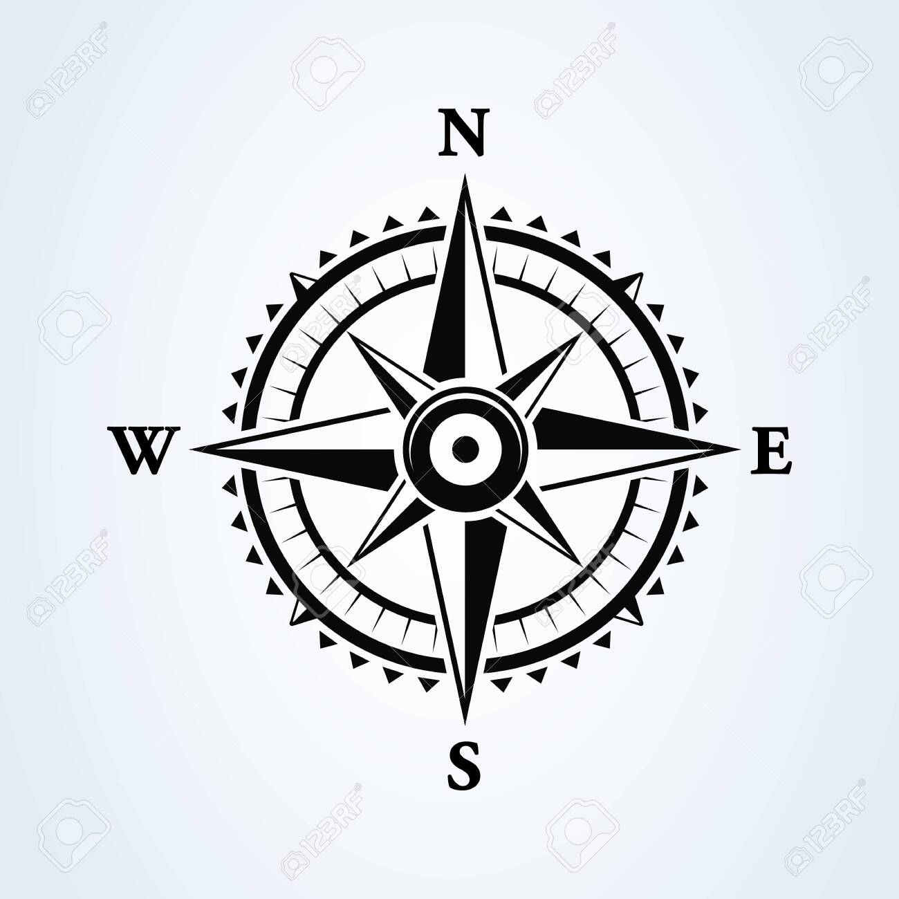 Compass wind rose icon isolated on white. Vector illustration. - 146901536