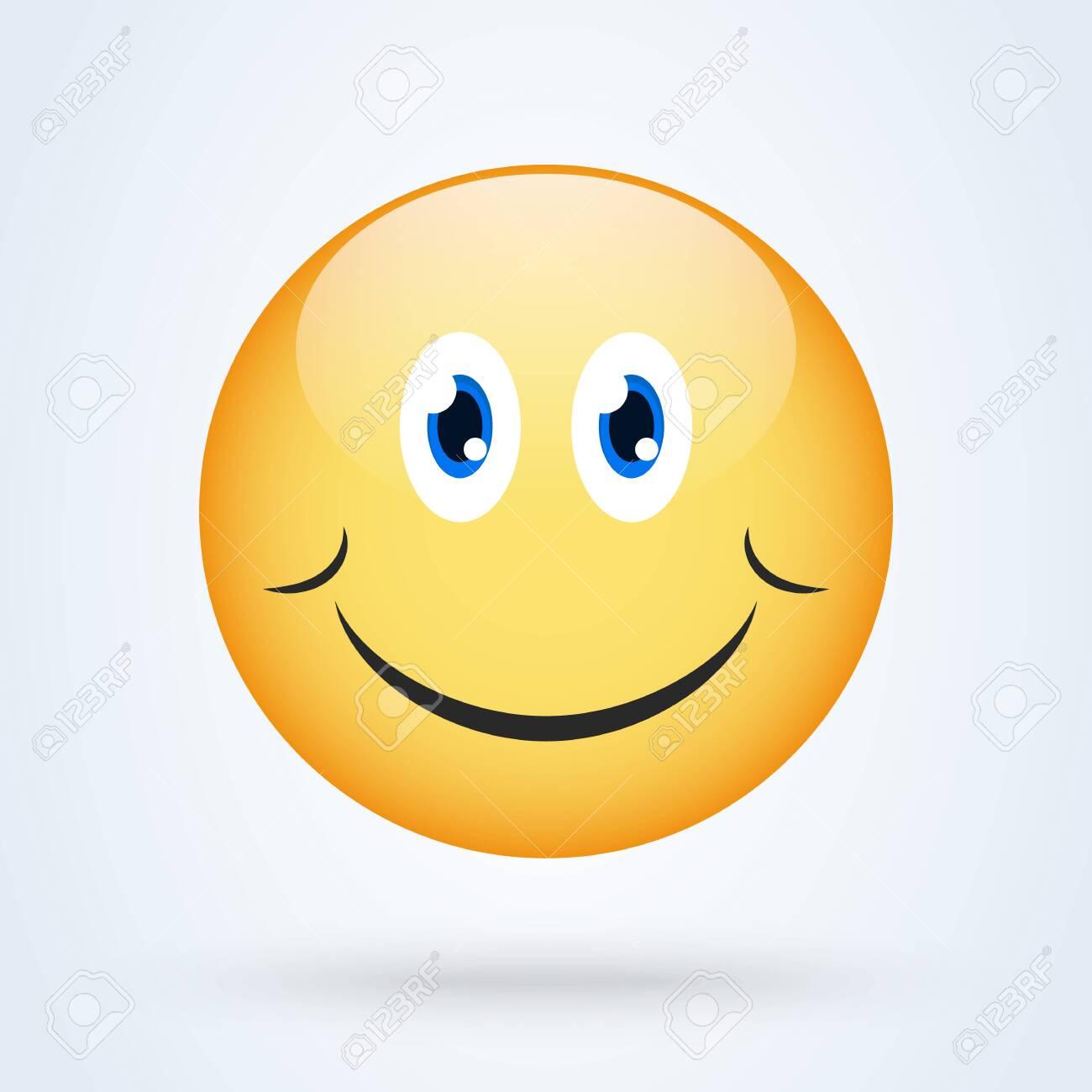 Happy smile emoticon yellow with shadow, emoji vector illustration. - 150102297