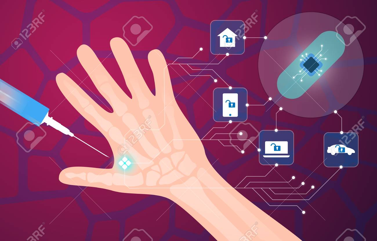 Human microchip implant in hand vector illustration - 109935473