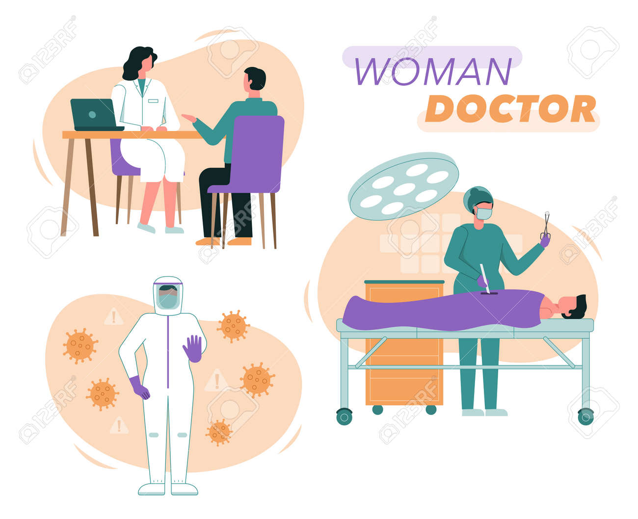 Vector illustration of female doctors and nurses - 158277933