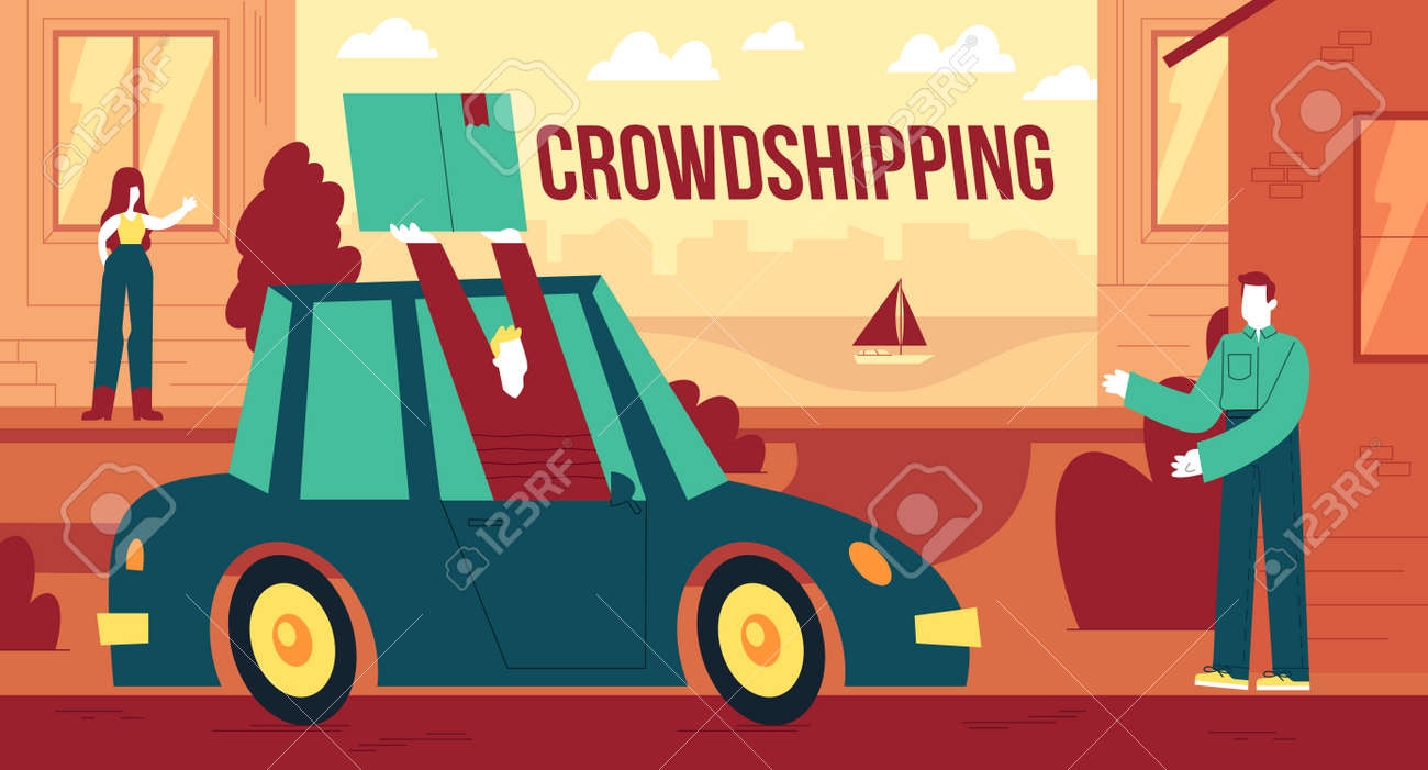 Vector illustration of rowdshipping, the personalized delivery of freight - 158460762
