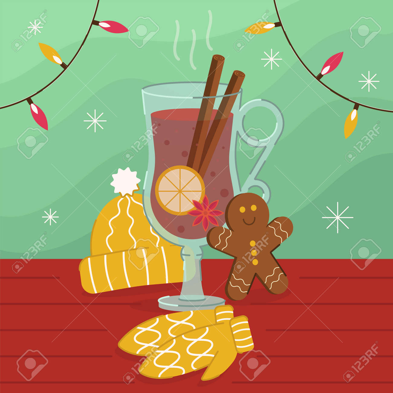 Vector illustration of a hot mulled wine - 161957778