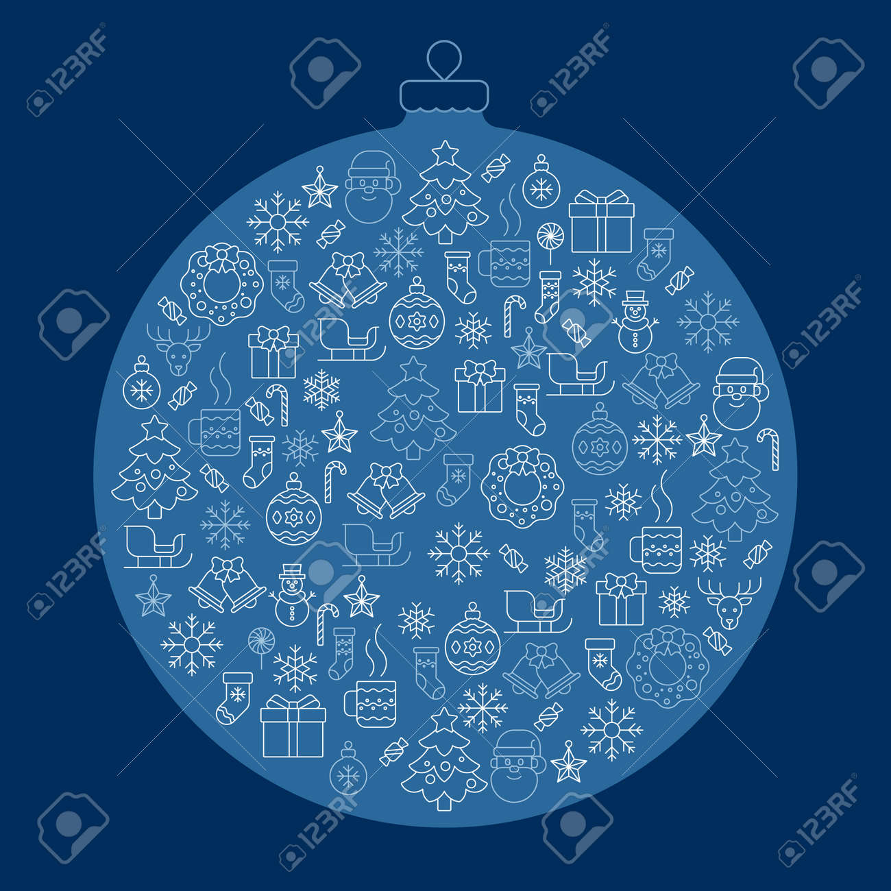 Merry Christmas vector icon set, cookies, a warm drink - 161957780