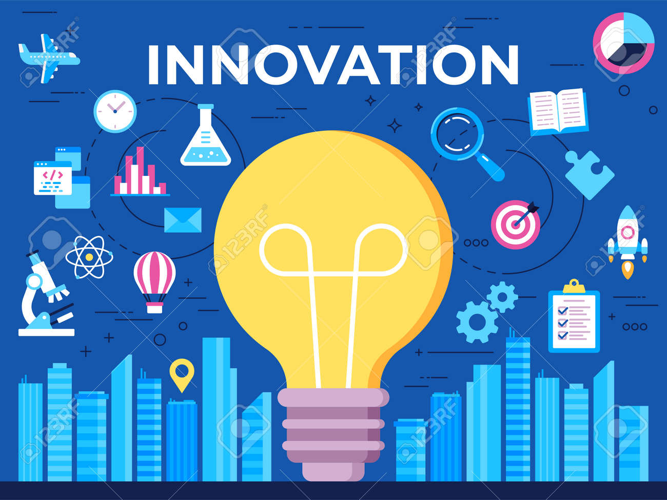 Vector flat illustration of innovation concept on blue background - 161957782