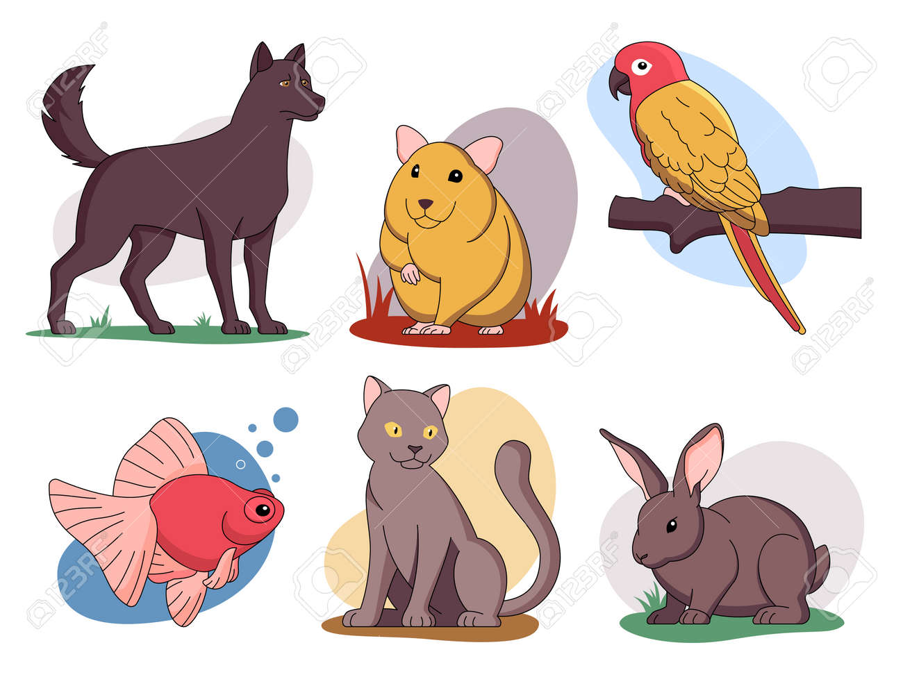 Funny pets vector illustrations set and other home animals - 161957793