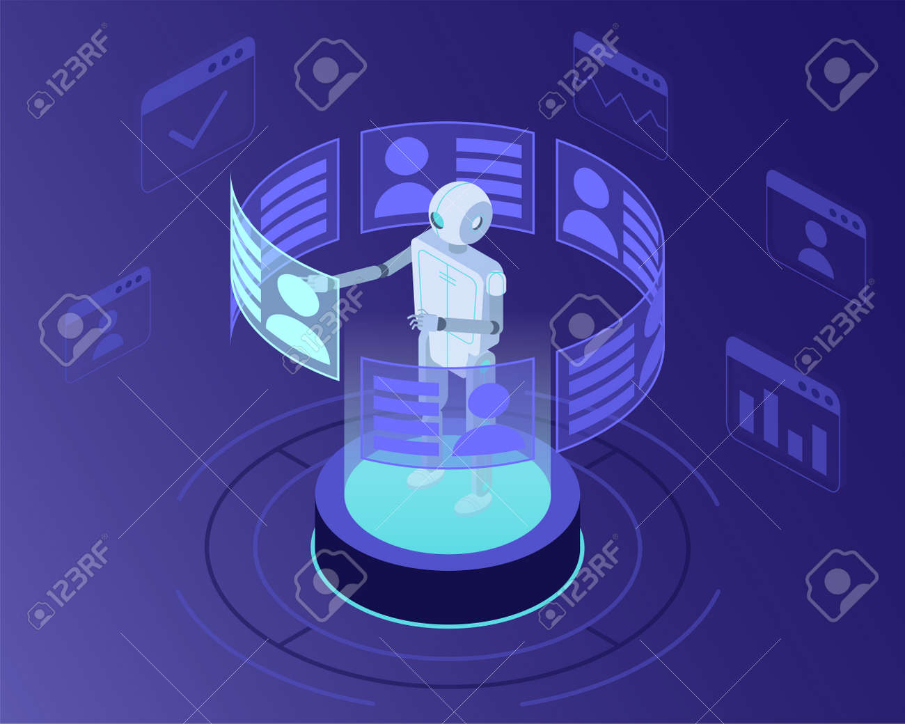 Isometric vector illustration of robot recruiter searching for candidates for a job - 161957794