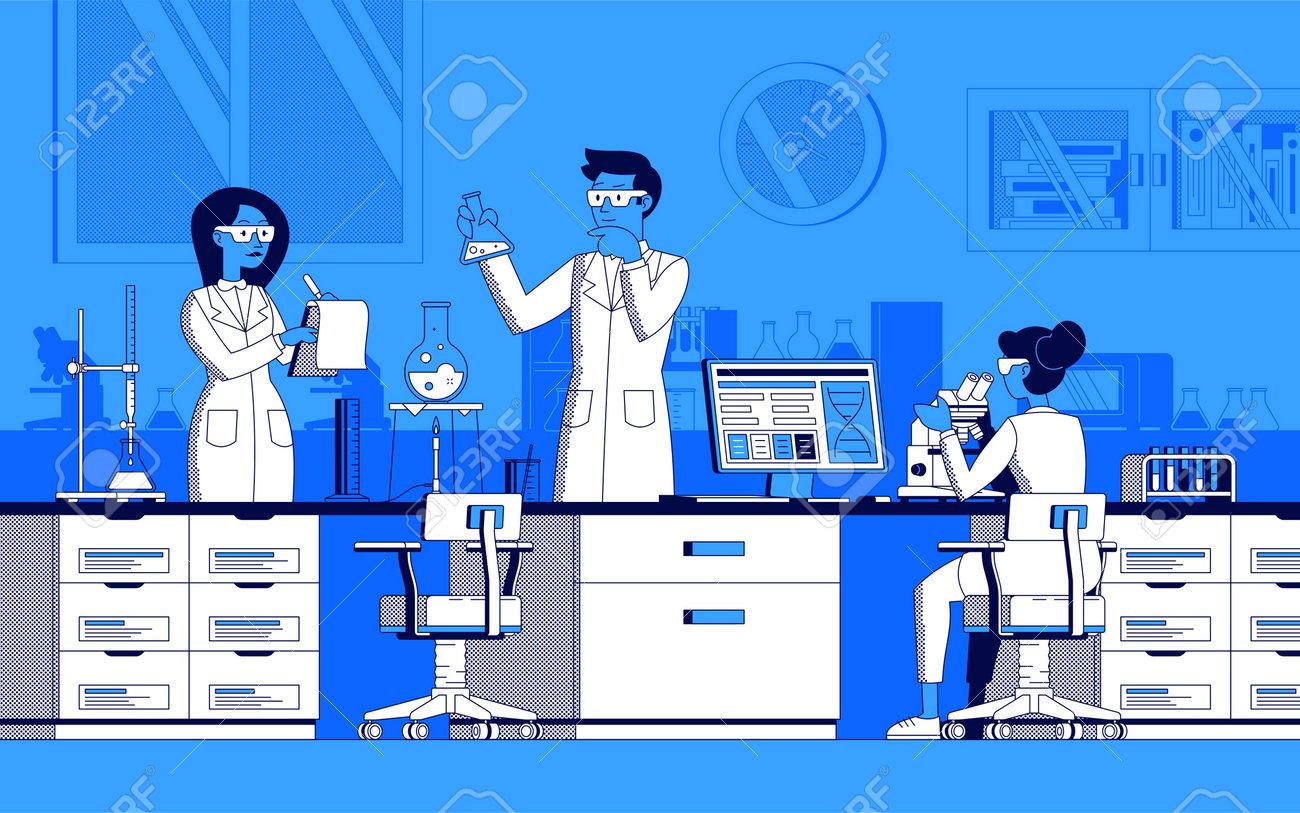 Scientific laboratory illustration in line art vector - 161957795