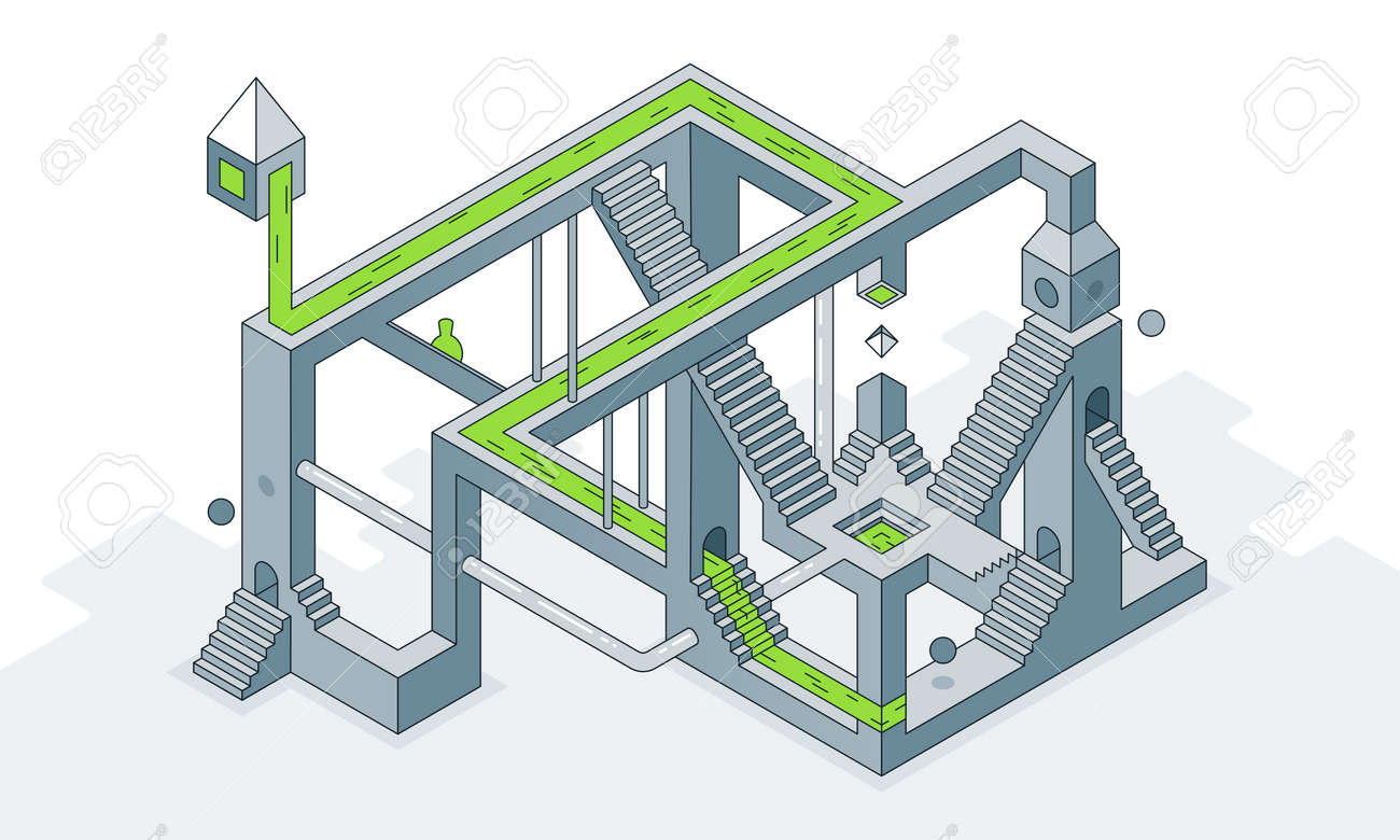 Vector illustration an optical maze of stairs - 161957869