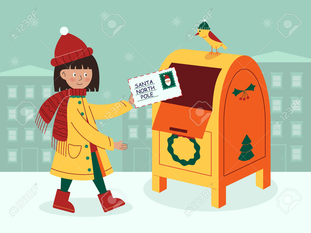 Vector illustration a letter for Santa Claus - 163123659