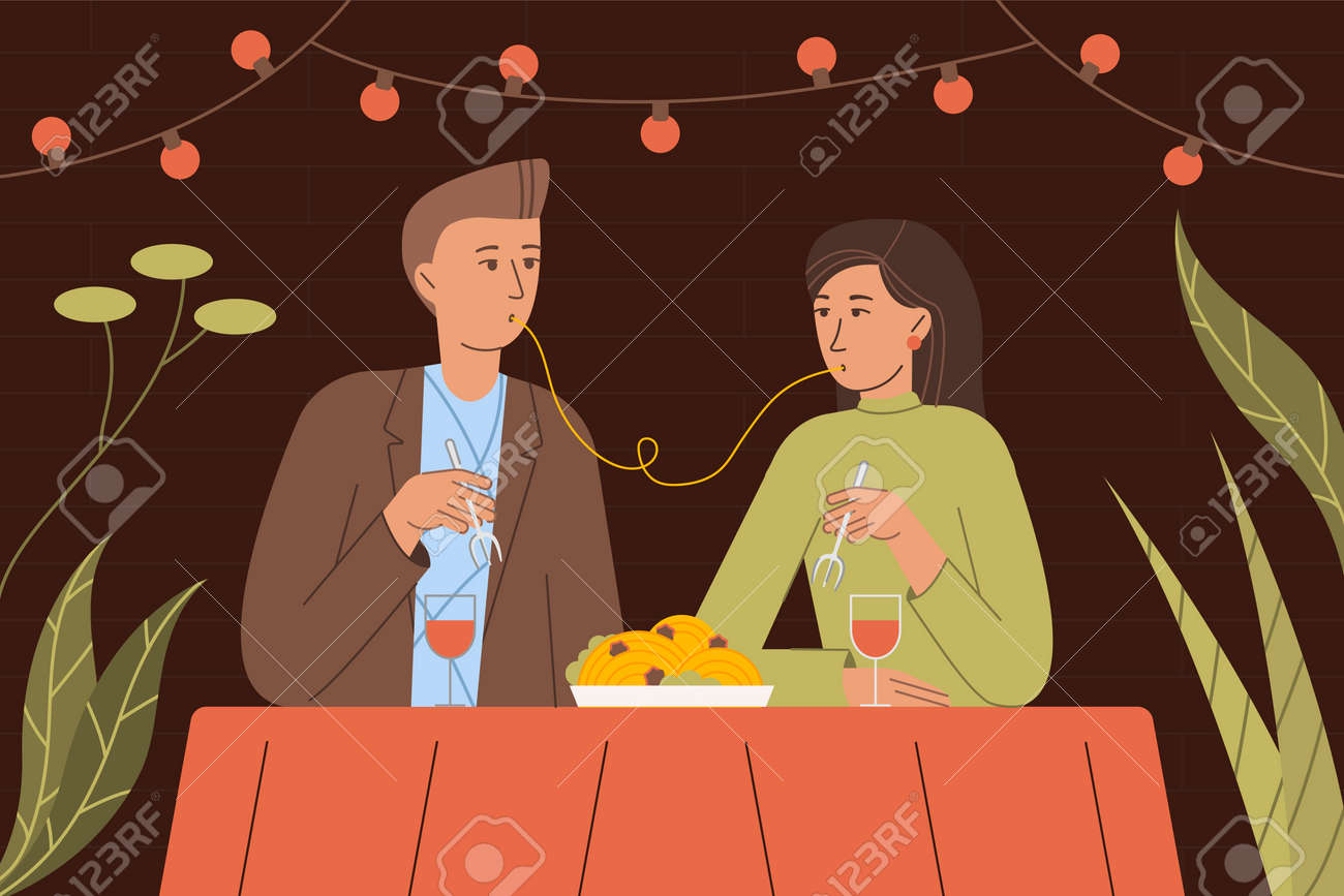 Vector illustration of people in love having dinner in a romantic setting - 163123660