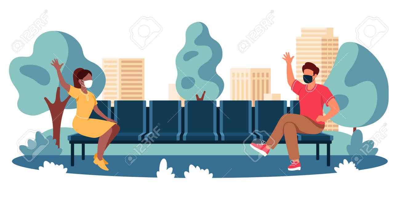Vector illustration of social distancing between people - 163123662