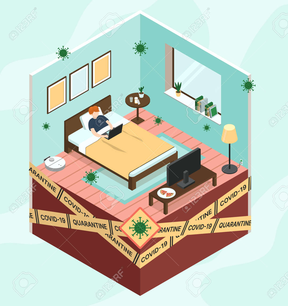 Isometric vector illustration self-isolation period at home - 165062156
