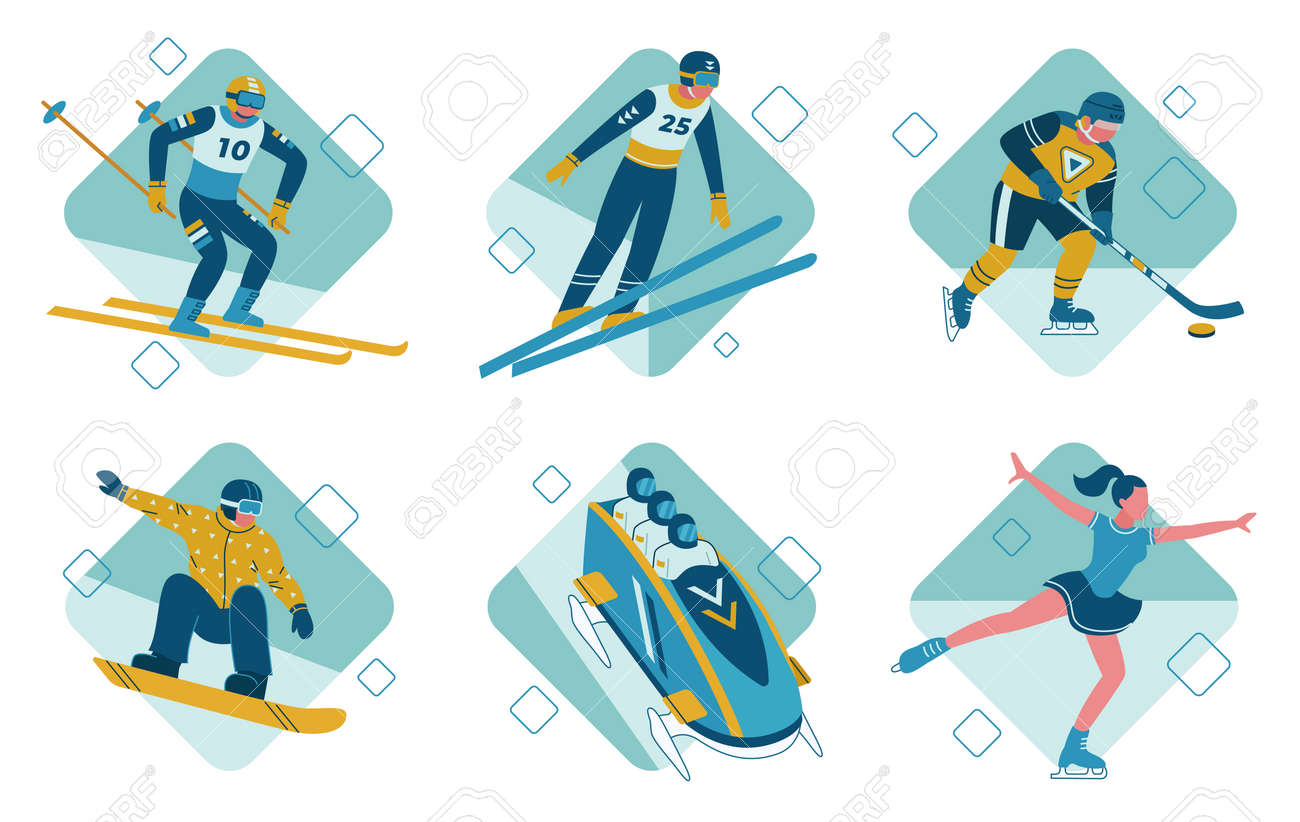 The winter sports vector illustrations set bobsleigh - 165062157