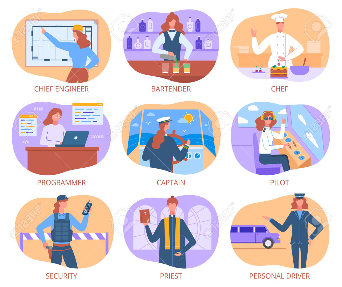 The modern woman professions vector illustrations set - 165062158