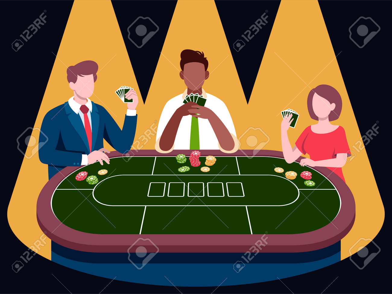 Poker player tournament illustrations in flat vector - 163221842