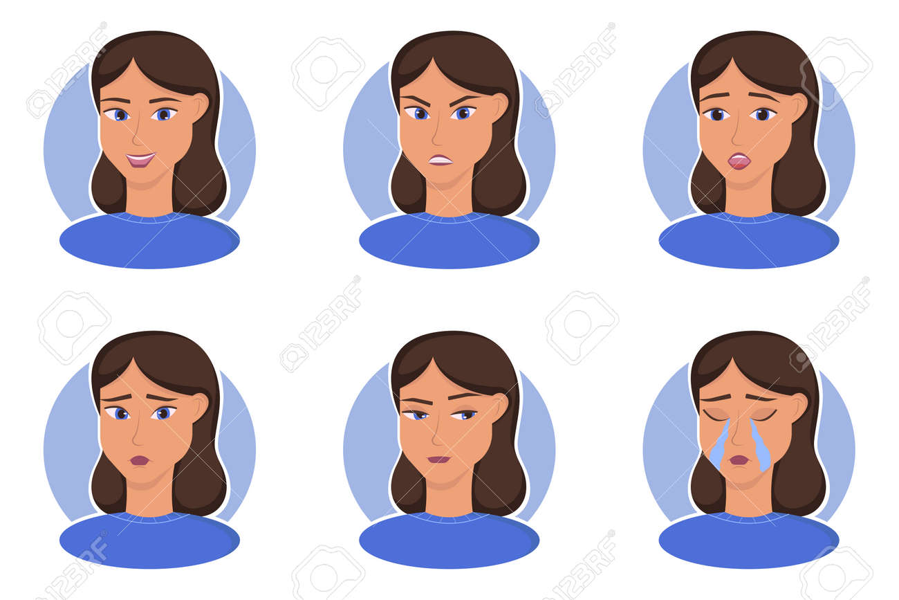The human emotions vector illustrations set and others - 163221845