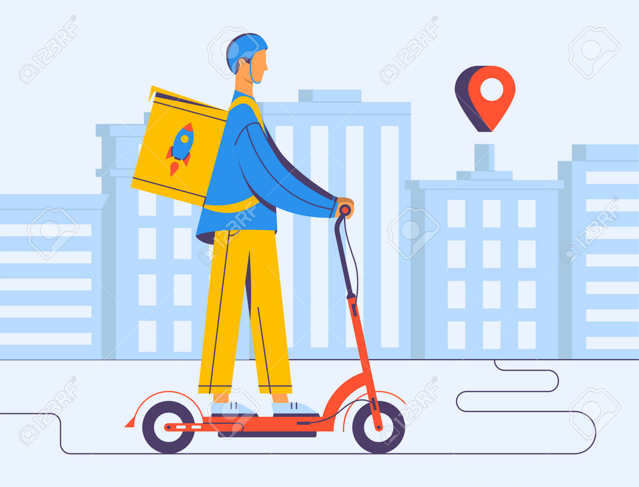 Courier delivery, illustrations in flat vector and the covid-19 - 164118863