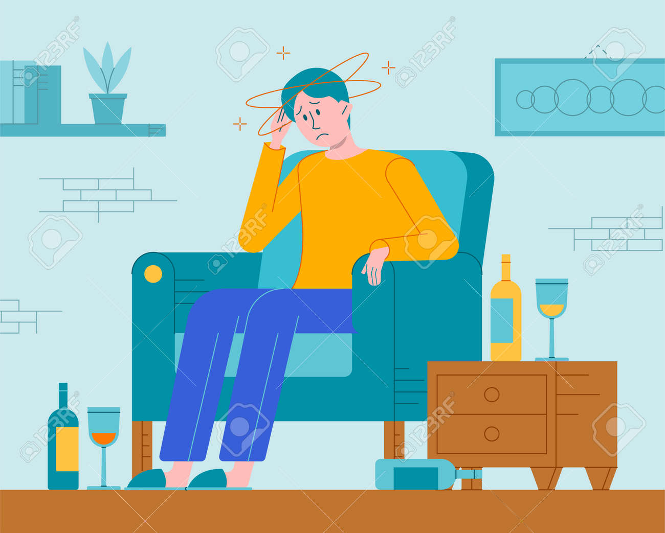 Vector flat illustration of a alcohol hangover - 164118865