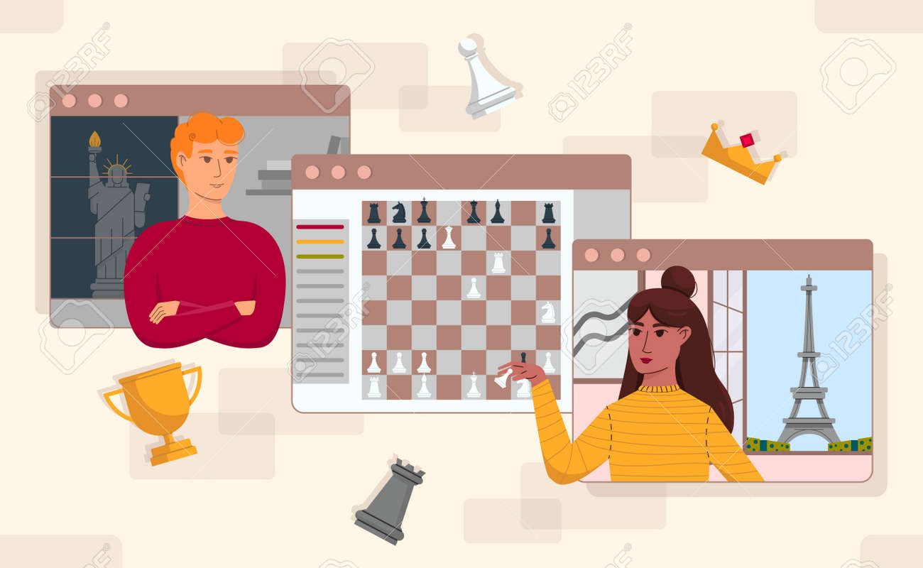 Online game illustrations in flat vector from each othe - 164118867