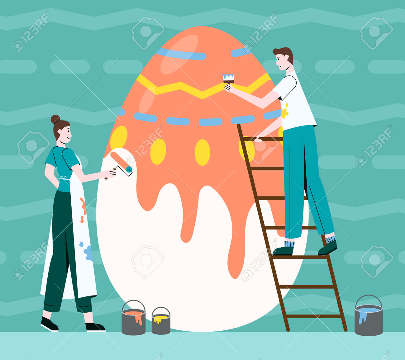 Colourful illustration of the Happy Easter egg - 165450969