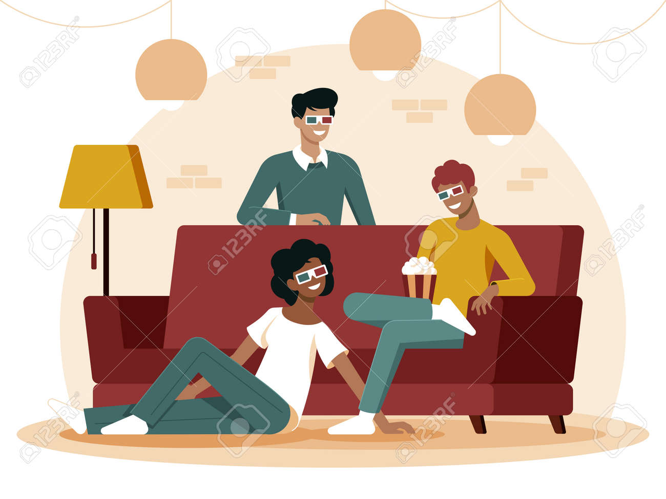 Colourful flat illustration of best friends sitting on the couch eating popcorn - 165451363