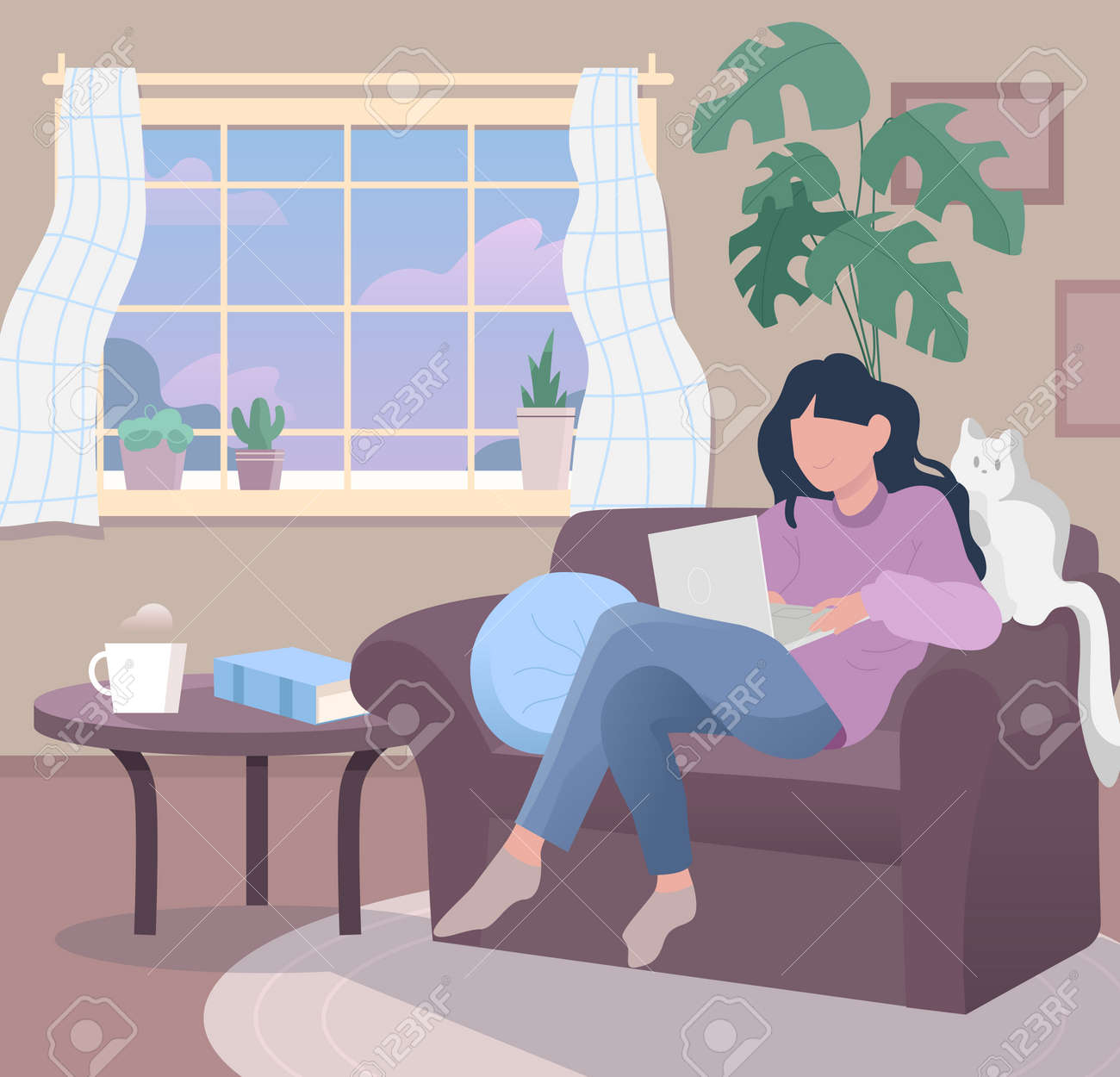 Freelancer work illustrations in flat vector and comfortable environment - 165454588