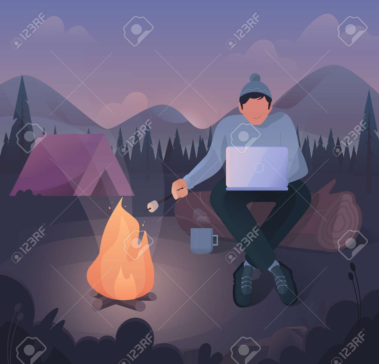 Freelancer work illustrations in flat vector, a young man who works and at the same time relaxes in nature by the fire - 165455054
