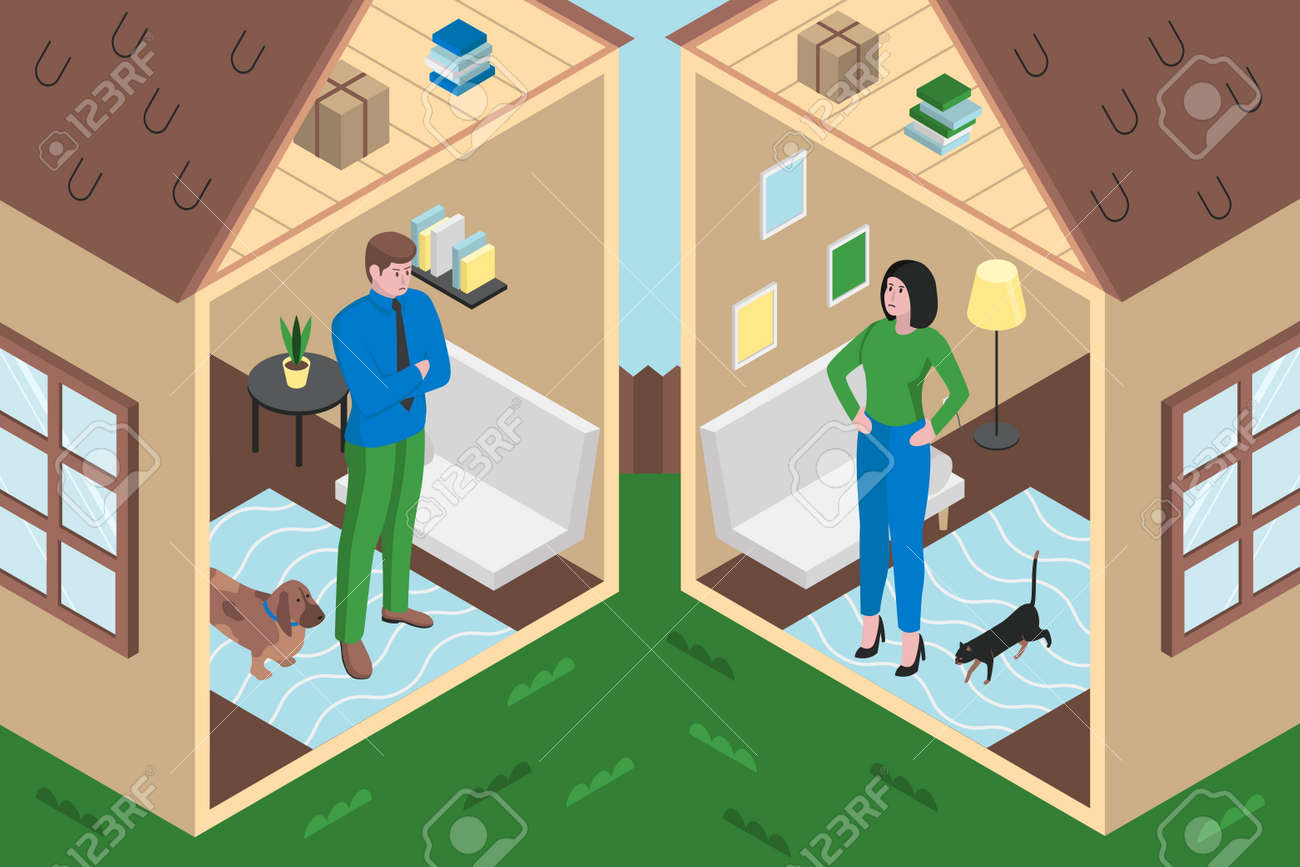 Colourful flat vector illustration shows of divorce - 168742682