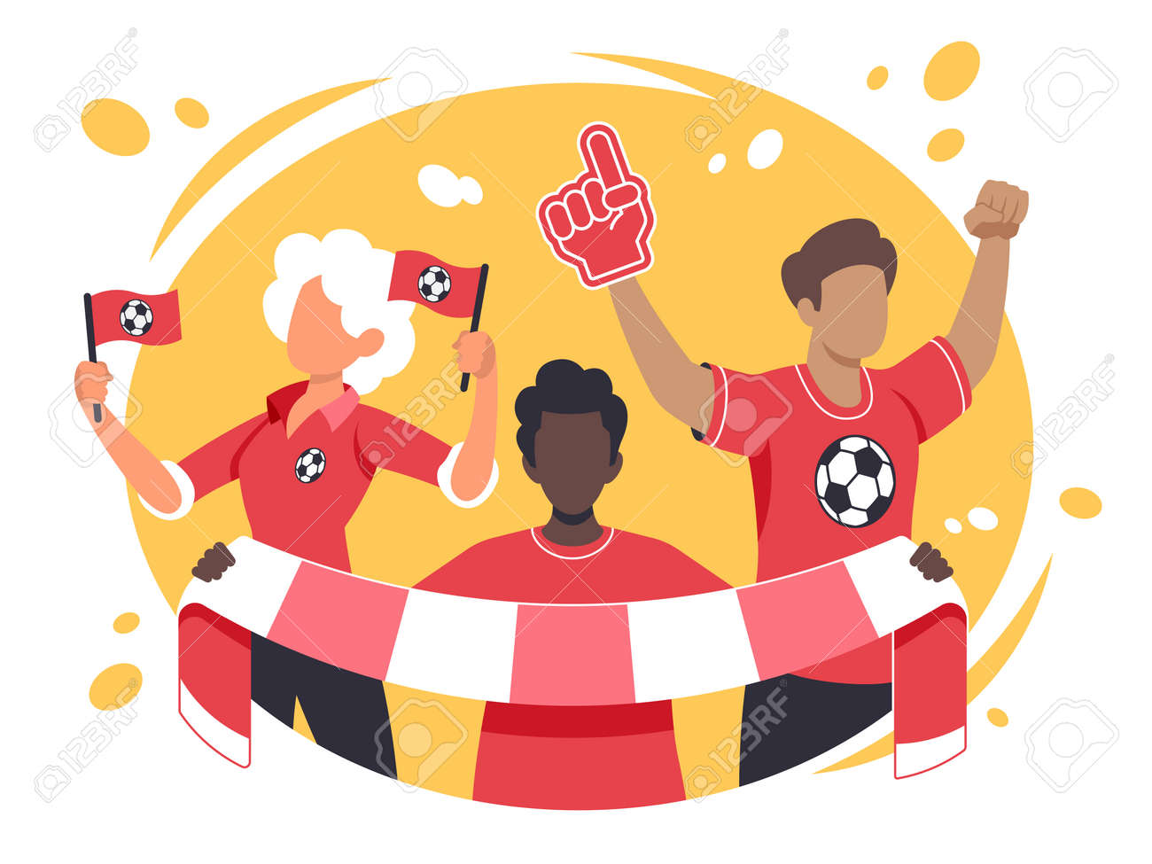 Colourful flat vector illustration of sports fans - 168742686