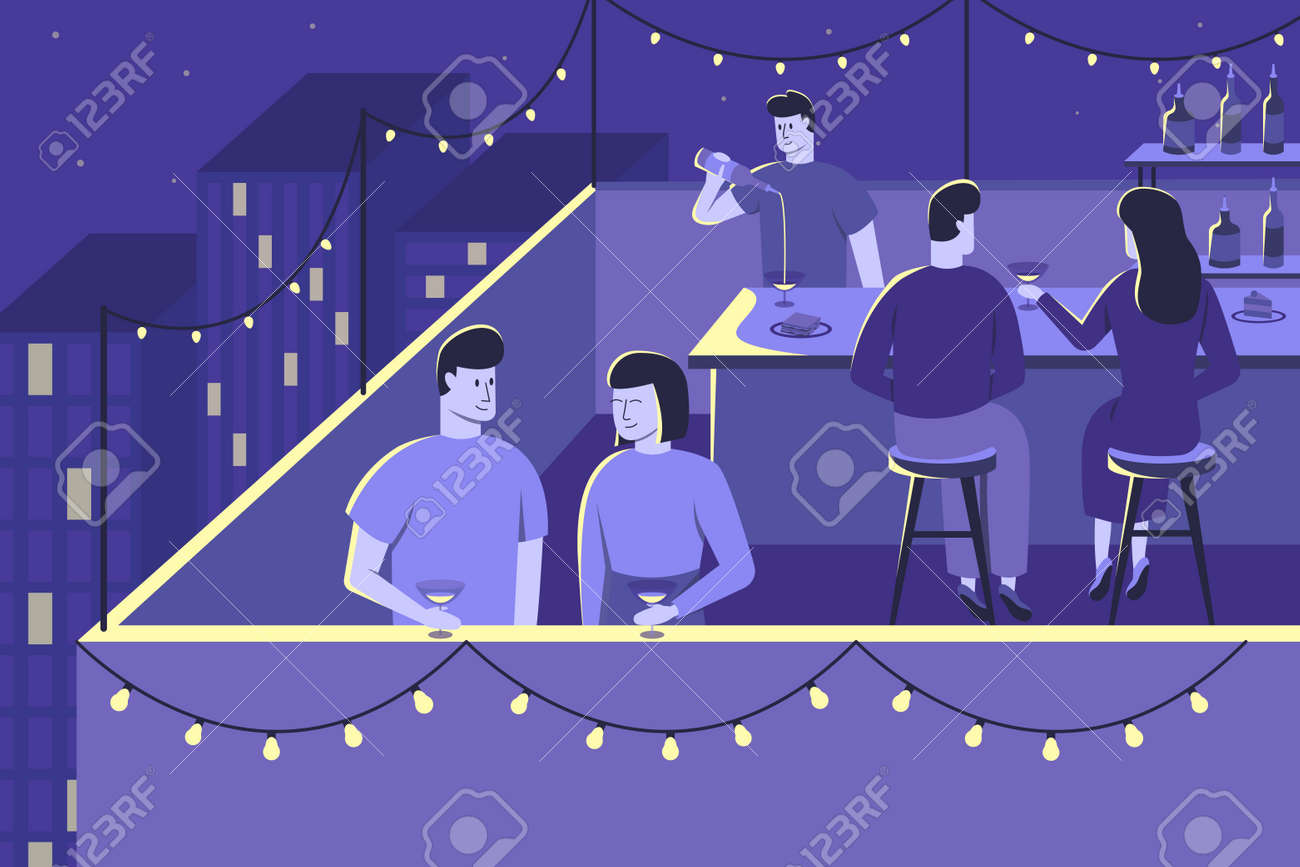 Colourful flat vector illustration of night party - 168742699