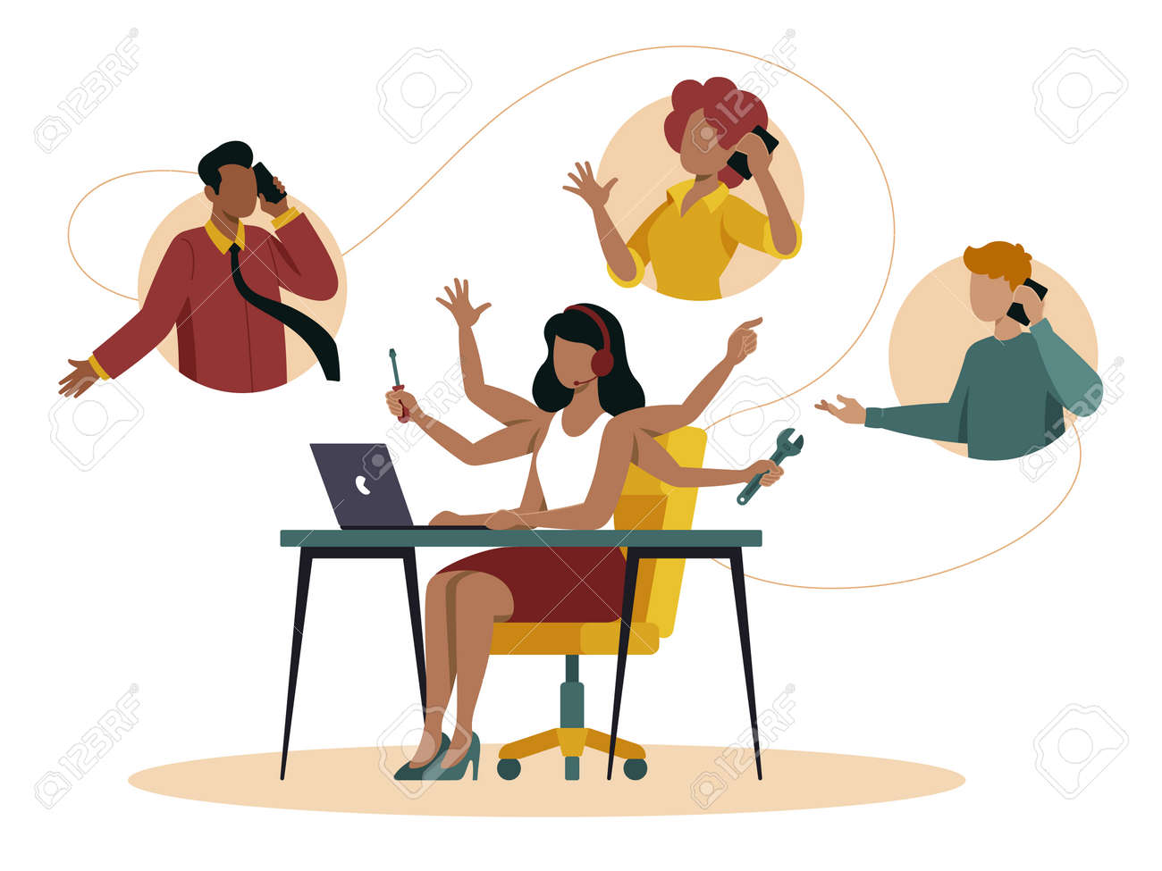 Call center illustration shows in flat vector - 168742713