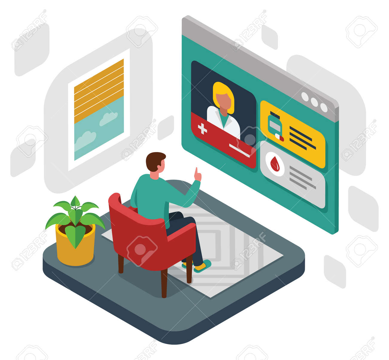 Colourful isometric illustration of online medical consultation - 168742715