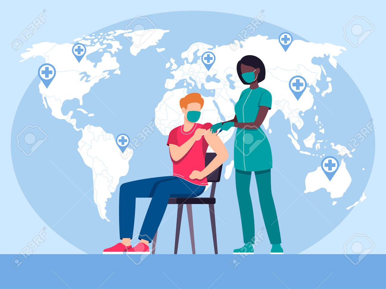 virus vaccination illustration in flat vector - 168742726
