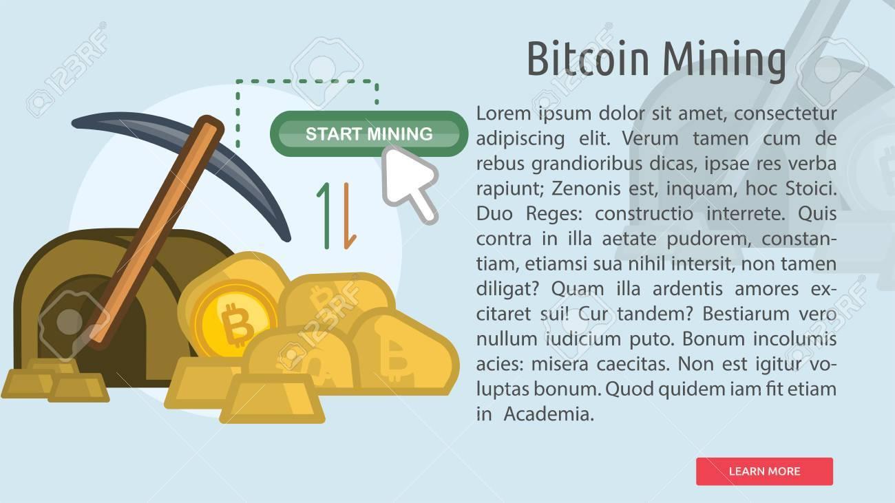 Bitcoin Mining Conceptual Banner Stock Vector