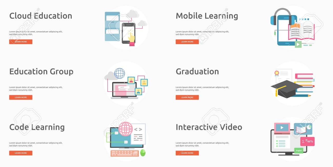 e learning and online education banner design royalty free cliparts