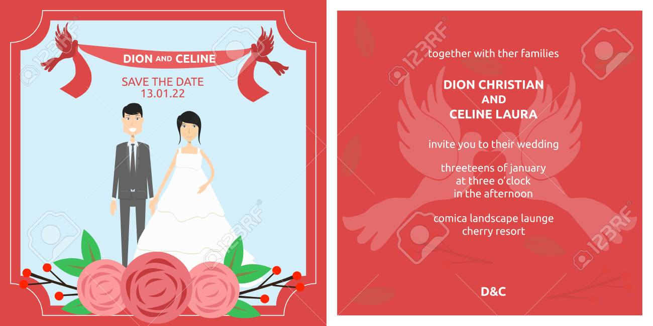 Template Wedding Red Floral Invitation With Bride And Groom. Royalty ...