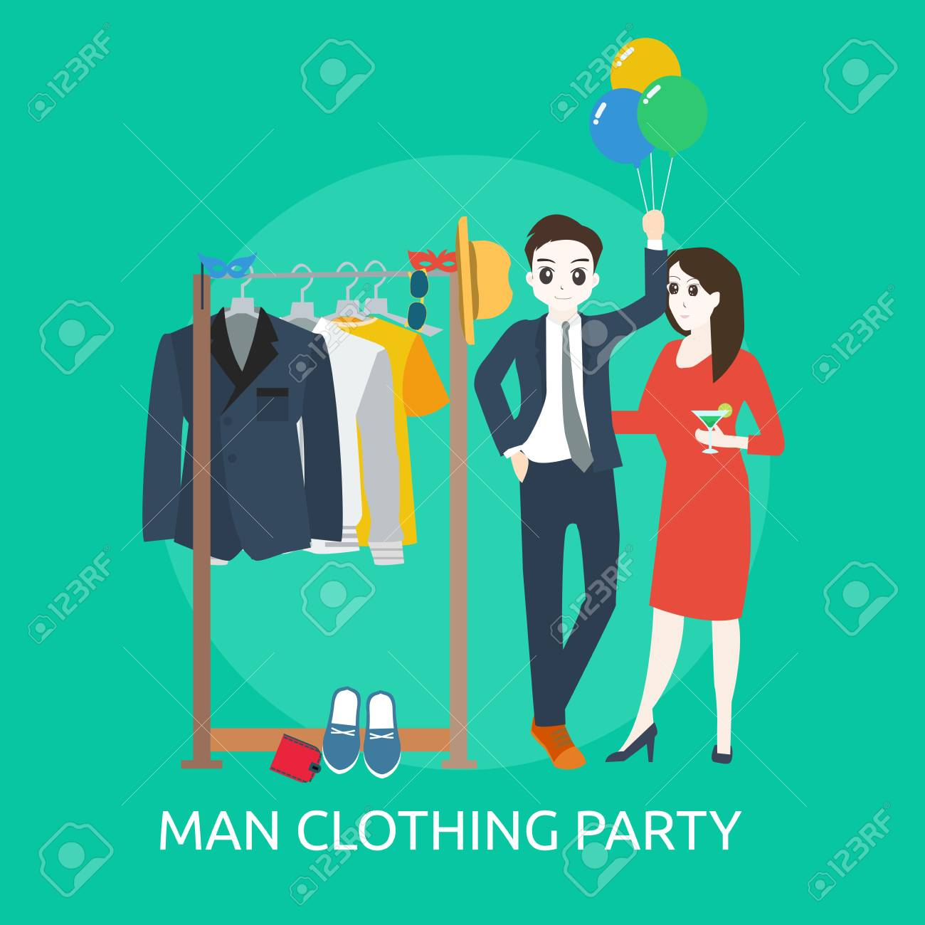 Man Clothing Party Poster Template Vector Illustration Royalty Free